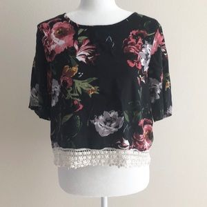 ABERCROMBIE and FITCH black floral blouse